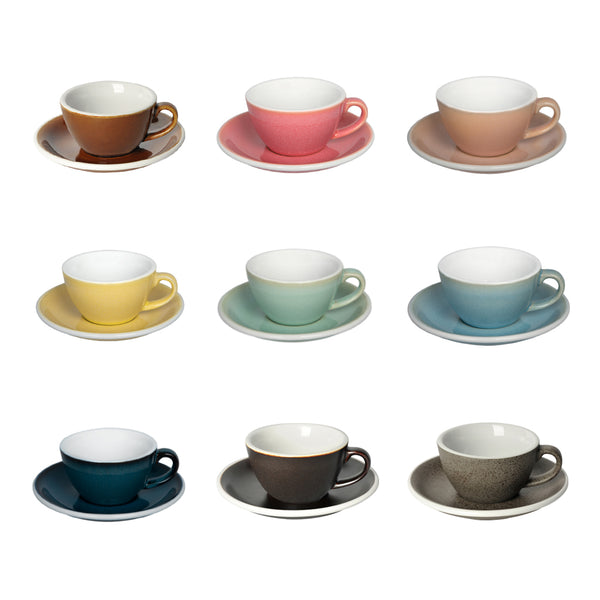 Egg 150ml Flat White Cup & Saucer (Potters Colours)