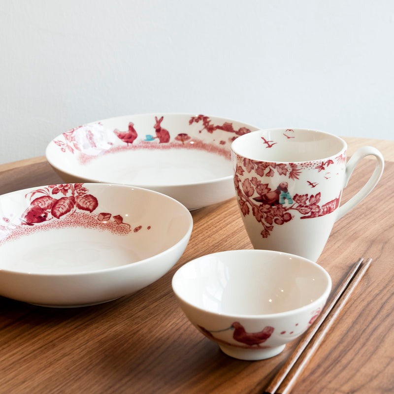 A Curious Toile 11.5cm Rice Bowl (Red)