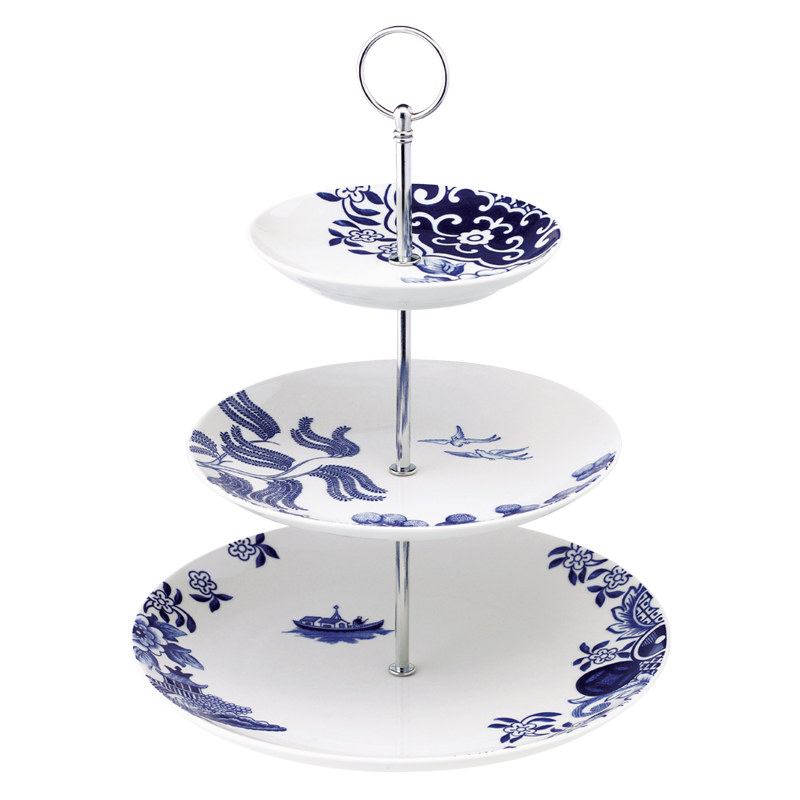Willow Love Story 27cm 3-Tier Cake Stand (Blue)