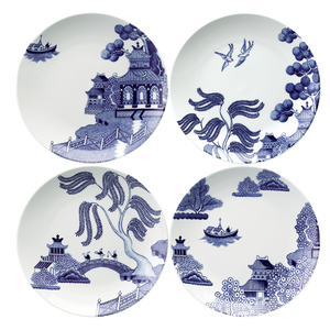 Willow Love Story Set of 4 x 21cm Assorted Salad Plate (Blue)