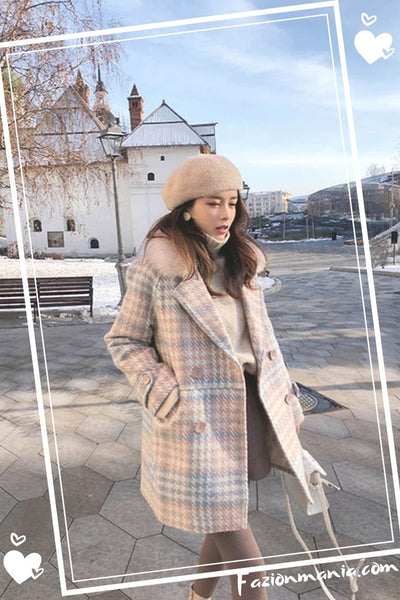 Elegant Winter Woolen Blends Female Coat