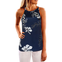 Sleeveless Navy Blouse