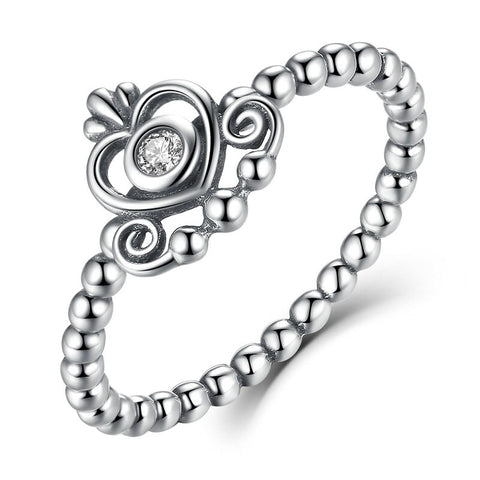 925 Sterling Silver Crown Heart-Shaped Ring