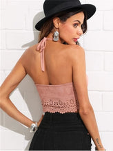 Load image into Gallery viewer, Pink Scallop Laser Suede Halter Top