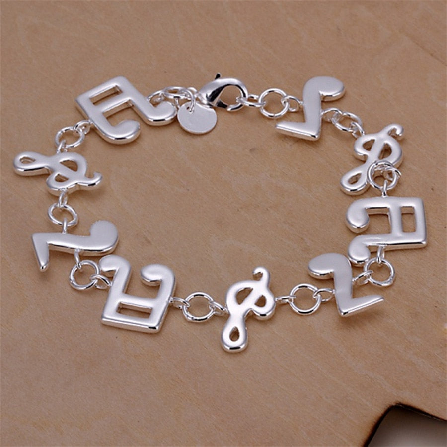 Silver Musical Note Women Bracelets