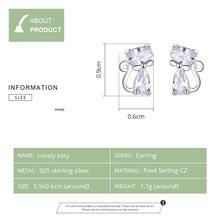 Load image into Gallery viewer, 925 Sterling Silver Cat Stud Earrings
