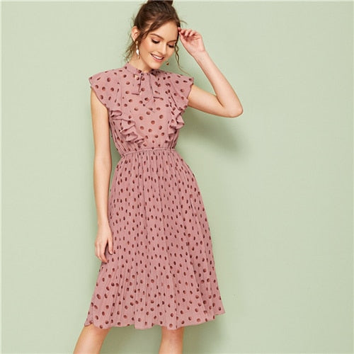 Neck Ruffle Trim Dot Pleated Dress