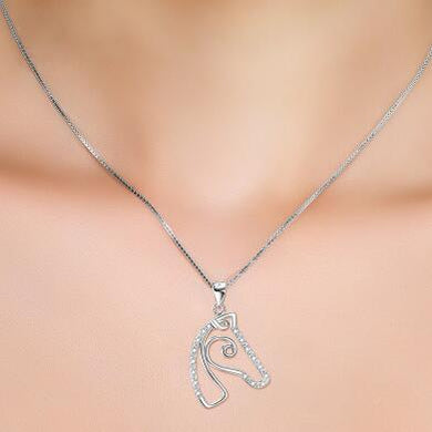 925 Sterling Silver Horse Head Pendant Necklace