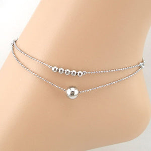 Double-strand Smooth Ball Chain Anklet Bracelet