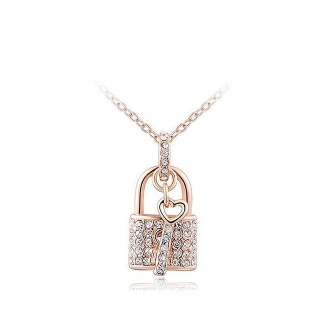 Rose Gold Century Blockade Chain Pendant Necklace