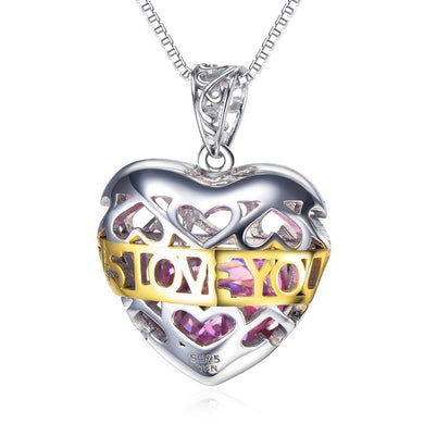 925 Sterling Silver Pink Stone Hollow Love Heart Necklace