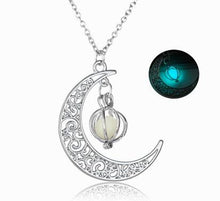 Load image into Gallery viewer, Silver Crescent Moon Glow Necklace