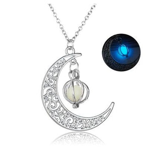 Silver Crescent Moon Glow Necklace