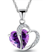 Load image into Gallery viewer, Heart Pendant Water Wave Crystal Necklace
