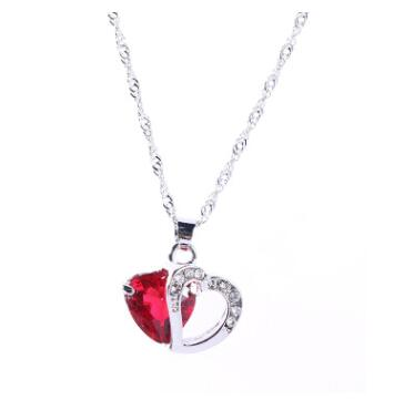 Heart Pendant Water Wave Crystal Necklace