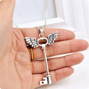 Angel Wings Key Silver Pendant Long Chain Necklace