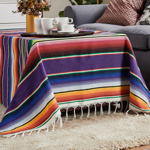 Handmade Stripe Rainbow Cotton Blanket Mat