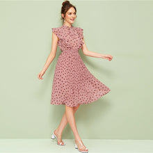 Load image into Gallery viewer, Neck Ruffle Trim Dot Pleated Dress