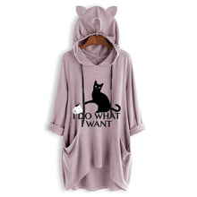Load image into Gallery viewer, Women Casual Black cat Print Hooded