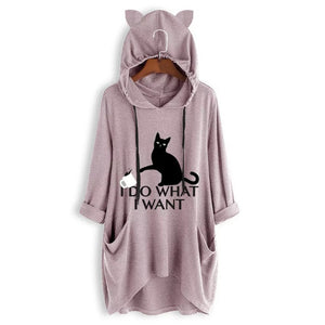 Women Casual Black cat Print Hooded