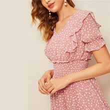 Load image into Gallery viewer, Pink Ruffle Trim Puff Summer Boho Dress