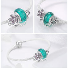 Load image into Gallery viewer, 925 Sterling Silver Daisy Flower Green Glass Bracelets