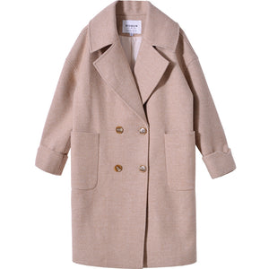 Winter Woolen Mid-Long Female Coat