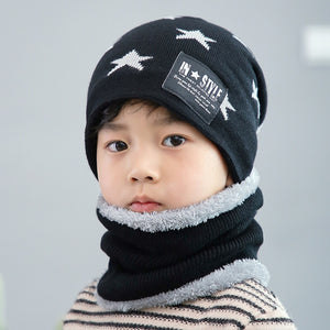Children Winter Knitted Hat with Scarves Thickened Wool