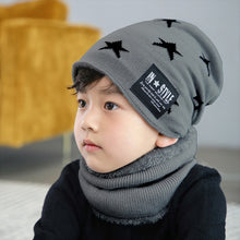 Load image into Gallery viewer, Children Winter Knitted Hat with Scarves Thickened Wool