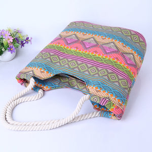 Summer Beach Canvas Striped Shoulder Bag