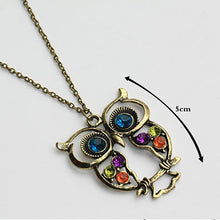 Load image into Gallery viewer, Gold Rhinestone Crystal Cubic Zirconia Owl Necklace