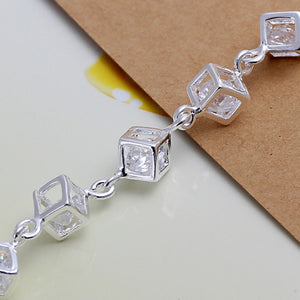 Classic White Crystal Lattice Bracelet