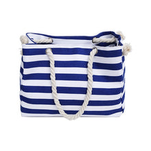 Load image into Gallery viewer, Canvas Rough Twine Striped Beach Bag