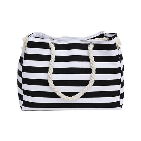 Canvas Rough Twine Striped Beach Bag
