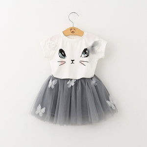 Cute Cat Cartoon Set T-Shirts Tutu Skirts