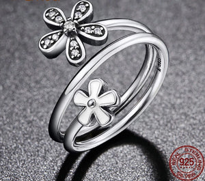 925 Sterling Silver Shimmering Bouquet Flower Ring