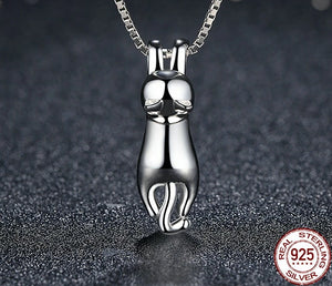 925 Sterling Silver Lovely Cat Long Tail Necklace