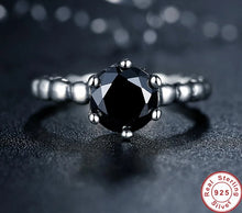 Load image into Gallery viewer, 925 Sterling Silver Black Cubic Zirconia Ring