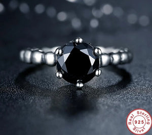 925 Sterling Silver Black Cubic Zirconia Ring