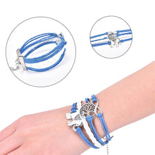 Load image into Gallery viewer, Leather Rope Elephant Trees Charm Bracelet