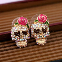 Load image into Gallery viewer, Pink Roses Skull Head Earrings