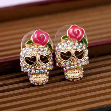 Pink Roses Skull Head Earrings