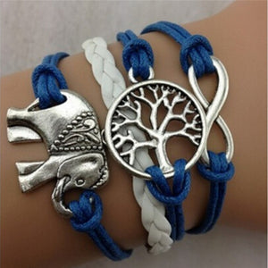 Leather Rope Elephant Trees Charm Bracelet