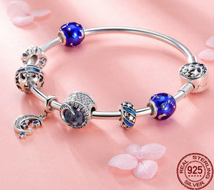 925 Sterling Silver Star Moon Blue Enamel Bracelet