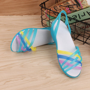 Women Jelly Rainbow Summer Flat Shoe