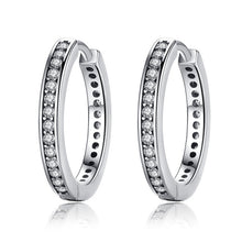 Load image into Gallery viewer, 925 Sterling Silver Authentic Dazzling Hoop Earrings