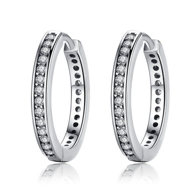 925 Sterling Silver Authentic Dazzling Hoop Earrings