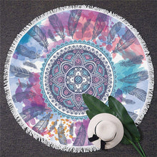 Load image into Gallery viewer, Watercolor Floral Feather Circle Yoga Mat