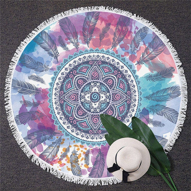 Watercolor Floral Feather Circle Yoga Mat