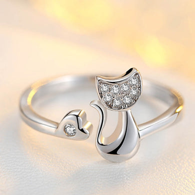 Love Heart Cute Little Cat Shaped Opening Ring